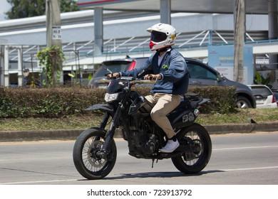CHIANG MAI, THAILAND -SEPTEMBER 14 2017: Private Bigbike Kawasaki Motorcycle.  On road no.1001, 8 km from Chiangmai city.