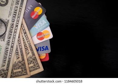 Chiang mai, Thailand - September 15,2018: Shopping in US Dollar paying in cash or Using credit card visa, mastercard for shopping.