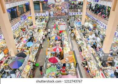 CHIANG MAI THAILAND - September 16, 2018 : Top view non focus scene Warorot Market, Popular local market sell local product mostly food and cloths that tourist must visit .