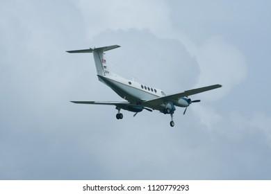 CHIANG MAI, THAILAND - SEPTEMBER 18 2007: 31214 Beech King C-12C Huron (A200)  of USA  Air Force. Landing to Chiangmai Airport.