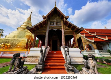 Chiang Mai, Thailand - September 19, 2019 : Wat Phra Singh Woramahaviharn  the most famous place that people went to travel in Chiang Mai