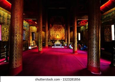 Chiang Mai, Thailand - September 19, 2019 : Phra Phuttha Sihing or Phra Singh the Principle and ancient Buddha Image at Wat Phra Singh Woramahaviharn, Chiang Mai