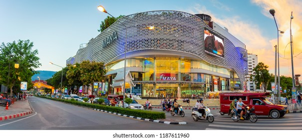 CHIANG MAI, THAILAND - September 20, 2018: Unidentified people walk at landmark and the famous street of Chiang Mai City in front of MAYA shopping store, Nimmanhemin Road on September 20, 2018.