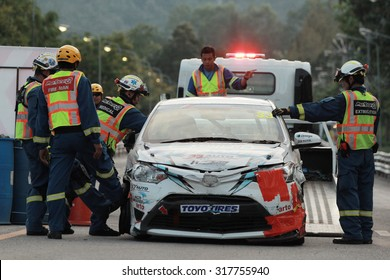 CHIANG MAI, THAILAND - SEPTEMBER 21: Racing car crash in Toyota Motorsport on September 21,2014 in 700th Anniversary Stadium ,Chiang Mai,Thailand.