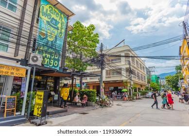 CHIANG MAI, THAILAND - September 30 , 2018: Unidentified people at Mahgo Tango shop the famous shopping street of Chiang Mai City, Nimmanhemin Road at soi 13 on September 30 , 2018.