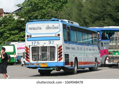 CHIANG MAI, THAILAND- SEPTEMBER 4 2011: Esarn tour company bus  route Khonkaen and Chiangmai. Photo at Chiangmai bus station, thailand.