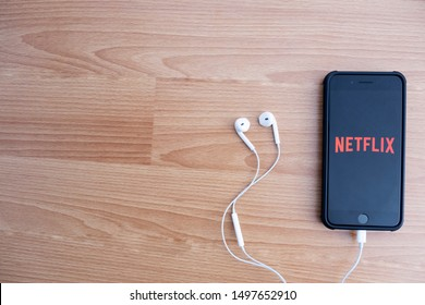 CHIANG MAI, THAILAND, SEPTEMBER 5, 2019: iPhone 8 Plus opened Netflix application. Netflix is a global provider of streaming movies and TV series.