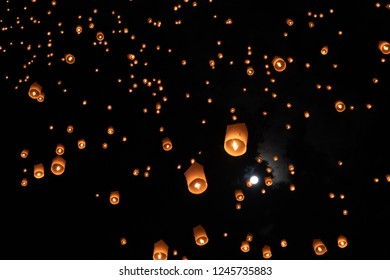 Chiang Mai Thailand white lantern to release in the sky during Loi Krathong Yee Peng Festival, lantern isolated in the sky