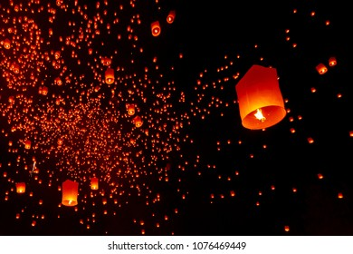 CHIANG MAI, THAILAND - Yee Peng Festival, Loy Krathong celebration with more than a thousand floating lanterns in Chiangmai.