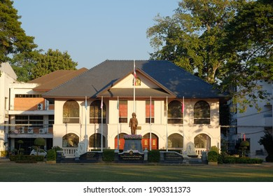 Chiang Mai, Thailand-3 Jan 2021: A main building of Yupparaj Wittayalai School, the provincial school is located in the middle of Chiang Mai in the evening.