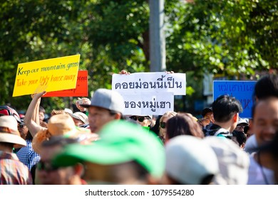 Chiang Mai, Thailand-April 29, 2018: Crowd remonstrate against housing project of appeal court in the forest.