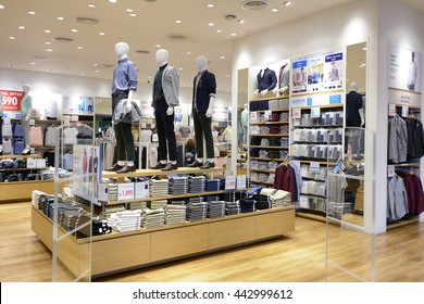 CHIANG MAI THAILAND-JUNE 18,2016 : UNIQLO SHOP, Asians popular its apparel brand. Because the styles are diverse. Beautifully designed with today's lifestyle. Products include casual wear & work wear.
