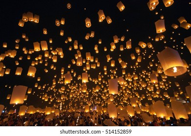 CHIANG MAI THAILAND-NOVEMBER 24 : Loy Krathong festival in Chiangmai.Traditional monk Lights floating balloon made of paper annually at temple.on November 24,2012 in Chiangmai,Thailand