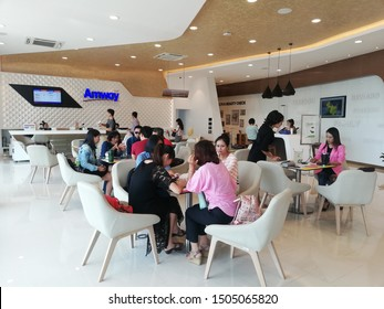 Chiang Mai, Thailand.September 14, 2019. Businessmen Members and Interested People Meeting and Talking about Amway Direct Sales Business and Product Trading Operations in Chiang Mai Amway Office.