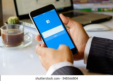 CHIANG MAI, THAILND, DEC - 08 - 2015 : Facebook is an online social networking service founded in February 2004 by Mark Zuckerberg with his college roommates and is now a fortune 500 company.
