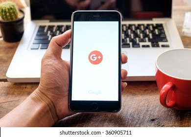 CHIANG MAI, THAILND, JAN 11, 2016 : Google+ is Google's social network service to compete with Facebook and launched in late June 2011
