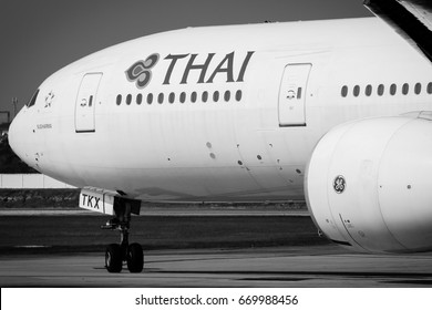 Chiang Mai-Thailand, 1 FEB 17: Boeing 777-300ER of Thai Airways (a member of Star Alliance) as seen taxiing on the tarmac at Chiang-Mai airport. Flight TG103, Chiang-Mai to Bangkok.