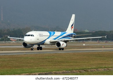 Chiang Mai-Thailand, 1 FEB 17: Airbus A320-200 of Bangkok Airways (a regional airline based in Bangkok) as seen taxiing at Chiang-Mai Airport. Aircraft registration, HS-PPK.