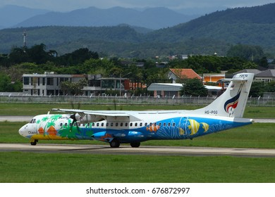 Chiang Mai-Thailand, 8 AUG 16: ATR72-500 of Bangkok Airways (a domestic-regional airlines based in Bangkok.) as seen taxiing at Chiang Mai Airport with beautiful background. Registration, HS-PGG.