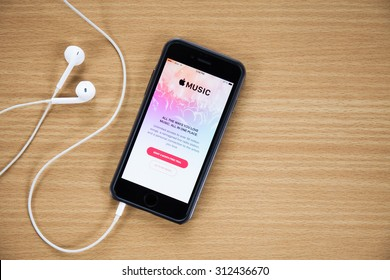 CHIANG MAI,THAILAND - AUGUST 25,2015 : Screen shot of Apple music app showing on iPhone 6 plus. Apple Music is the new iTunes-based music streaming service that arrived on iPhone