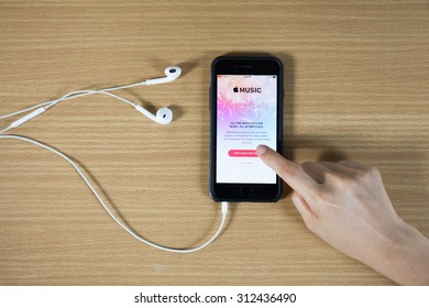 CHIANG MAI,THAILAND - AUGUST 31,2015 : Screen shot of Apple music app showing on iPhone 6 plus. Apple Music is the new iTunes-based music streaming service that arrived on iPhone
