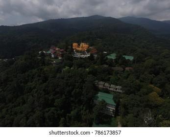 CHIANG MAI,THAILAND - CIRCA March 2017 :money shot doi suthep temple in the mountain