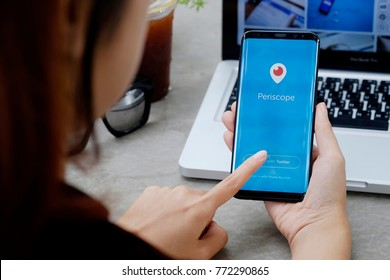 CHIANG MAI,THAILAND - DEC 08, 2017 :Samsung galaxy S8 Plus open Periscope app . Periscope is made by Twitter - lets you broadcast live video to the world.