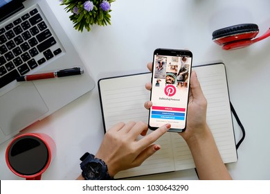 CHIANG MAI,THAILAND - FEB 22,2018 :New Samsung galaxy s8 plus with social Internet Pinterest application on the screen. Pinterest is an online pinboard that allows people to pin their.