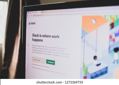 CHIANG MAI,THAILAND - Jan 1,2019: screen of slack website use for project and teamwork management.