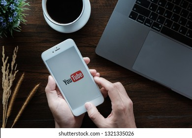 CHIANG MAI,THAILAND - January 20, 2019 : Man showing screen shot of Youtube on iphone 6,  YouTube app on the screen, YouTube is the popular online video sharing website. - Image