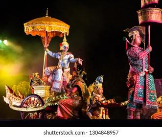 Chiang mai,Thailand - January 27,2019 : Khon Sala Chalermkrung : Hanuman, traditional thai masked dance show , Free for public at three kings monument square and walking street in Chiang mai,Thailand