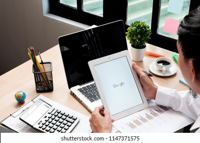 CHIANG MAI,THAILAND - July 30,2018 : IPad 4 open google app. Google is an American multinational corporation specializing in Internet-related services and products.