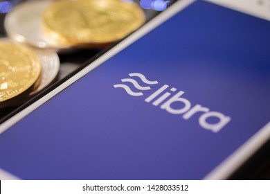 CHIANG MAI,THAILAND - JUNE 19,2019: Libra Facebook cryptocurrency and bitcoin cryptocurrency, Libra coins concept.
