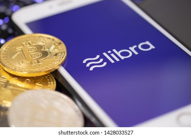 CHIANG MAI,THAILAND - JUNE 19,2019: Libra Facebook cryptocurrency and bitcoin cryptocurrency, Libra coins concept.