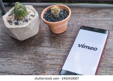 CHIANG MAI,THAILAND - June 29,2019: Vimeo mobile application on smartphone screen, on wooden bar in coffee shop.