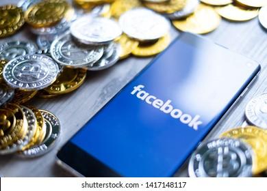 CHIANG MAI,THAILAND - JUNE 6,2019: facebook coin new crypto coin in coinmarketcap or fb coins.
