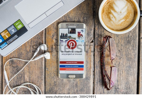 CHIANG MAI,THAILAND - MAR 9,2016 : samsung galaxy s6 edge with social Internet service Pinterest on the screen. Pinterest is an online pinboard that allows people to pin their interesting things.
