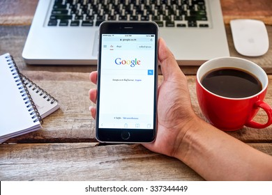 CHIANG MAI,THAILAND - NOV 10,2015:Google is an American multinational corporation specializing in Internet-related services and products. Most of its profits are derived from AdWords.