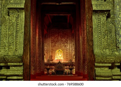 CHIANG MAI/THAILAND - OCTOBER 23: Entrance of the Phra Phuttha Sihing Buddha (Buddha statue) room at Wat-Phra-Singh Woramahaviharn Temple on October 23, 2016 in Chiang-mai Thailand