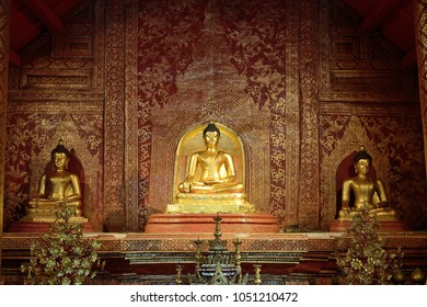 CHIANG MAI/THAILAND - OCTOBER 23: The Phra Phuttha Sihing Buddha (Buddha statue) in the chapel with gorgeous Wall at Wat-Phra-Singh Woramahaviharn Temple on October 23, 2016 in Chiang-mai Thailand