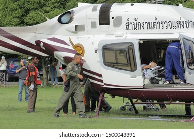 Chiang Mai,Thailand. Sep 05, 2019. Bell 429 Global Ranger Royal Thai Police Land at Helipad for Medical Evacuation Transport Seriously Injure Patient Rescue Mission Support Operation from Wilderness.