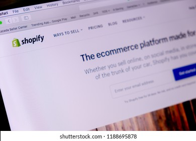 CHIANG MAI,THAILAND - Sep 26,2018: Close up Shopify Website in laptop screen with black background.