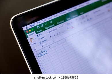 CHIANG MAI,THAILAND - Sep 26,2018: Close up Microsoft Excel Application in laptop screen with black background.