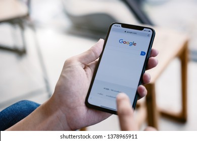 CHIANG MAI,THAILAND-APR 25,2019 Google is an online social networking on iPhone X is popular In year.