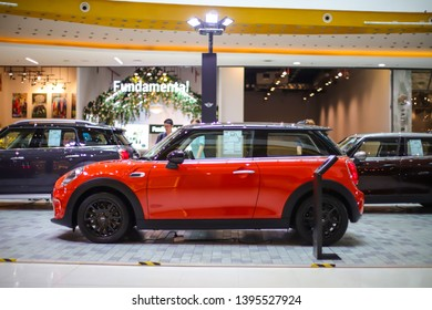 CHIANG MAI,THAILAND,April 28-2019: The new MINI HATCH 3-DOOR at MINI Roadshow 2019 Central Festival Chiang Mai,Thailand