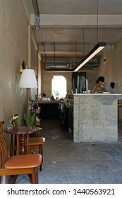 CHIANG MAI,THAILAND-APRIL 28,2019:Interior design and decoration of 'LOOPER AND CO' local coffee cafe and cocktail bar