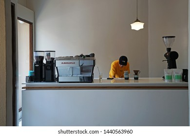 CHIANG MAI,THAILAND-APRIL 28,2019:Interior design and decoration with barista of 'LOOPER AND CO' local coffee cafe and cocktail bar