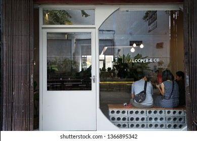 CHIANG MAI,THAILAND-APRIL 9,2019:Exterior design and decoration of 'LOOPER and CO' frontstore,local coffee shop and cocktail bar