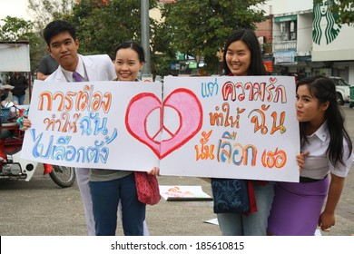 CHIANG MAI,THAILAND-JAN18: Atmosphere while people including university students joining an activity of anti-coup by symbolic speech as 3minutes talk & do vigil candle for peace, On Jan18, 2014.