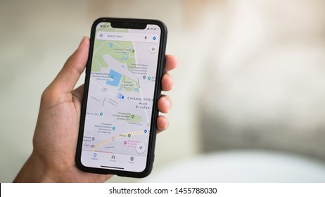 CHIANG MAI,THAILAND-JUL 19,2019 Googl Map app on iPhone X is Help in traveling is popular In year. - Image